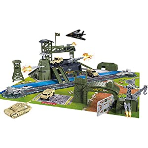 Best Epic Trends 5170Xu6x3qL._SS300_ BeebeeRun 34 Pieces Military Base Set, Army Men Playset with Vehicles Accessories and Play Map, Plastic Christmas Toys…