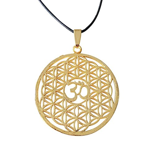 - Mirabella New BellaMira 18K Gold Plated or Abalone Shell OM (Aum) Necklace - Indian Motif Diwali Hindu Jewellery for Peace Love Meditation Yoga in Elegant Gift Box ... (Flower of Life - Om Necklace)