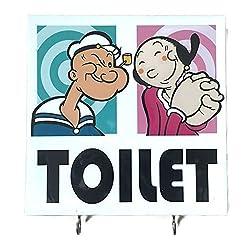 Agility Bathroom Wall Hanger Hat Bag Key Adhesive Wood 2 Hooks Vintage Popeye & Olive Toilet's Photo