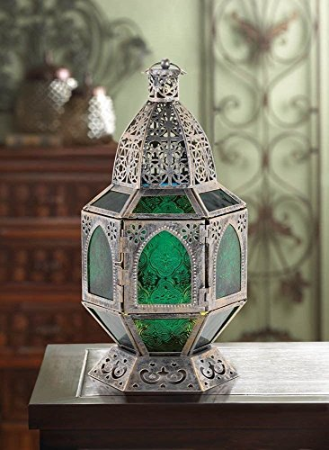 Burnished Basilica Candle Lantern Silver Green Moroccan Decor Tabletop Glass