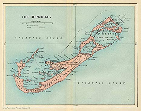 The Bermudas. Vintage map. Bermuda - 1931 - Old Antique Vintage map ...