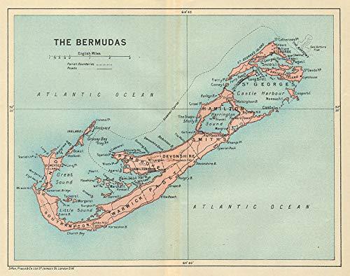 The Bermudas. Vintage map. Bermuda - 1931 - Old Antique ...