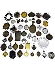 GraceAngie 20PCS Mixed Pictures,Frames,Colors Alloy Cameo Setting 20-65mm Jewelry Making DIY Pendant Charms