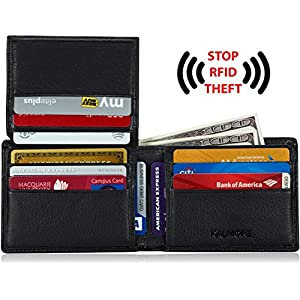 Men's RFID Blocking Flip-ID Window Bifold Genuine Leather Pocket Wallet - in Gift Box Holiday Gift
