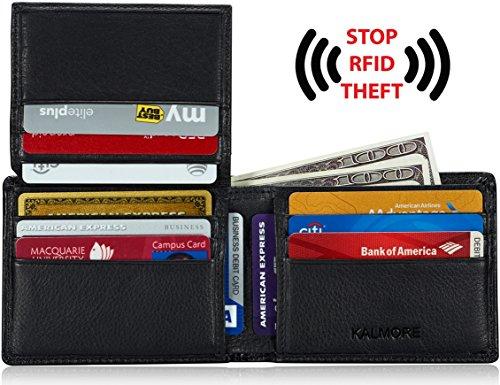 KALMORE Men's RFID Blocking Extra Capacity Multi-Card Genuine Leather Wallet (Black)