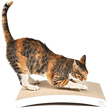 4claws curve scratching pad white basics for Curved cat scratcher