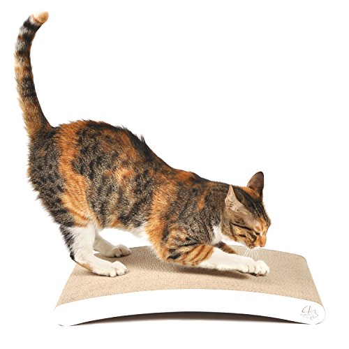 4CLAWS Curve Scratching Pad (White) - BASICS Collection Cat Scratcher (Scratcher Refill)