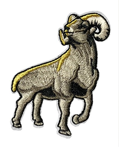 YELLOWSTONE BIG HORN RAM SHEEP Patch Nature Outdoor National Park Series Theme Embroidered Sew/Iron on Badge DIY Appliques]()