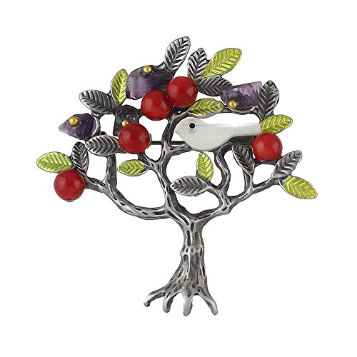 tique Silver Plated Pearl Leaf Bird Tree Shape Gems Decor Brooch with Jewelry Pouch (yellow) ()