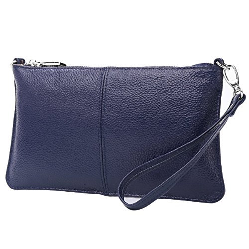 Lecxci Leather Crossbody Purses Clutch Phone Wallets with Card Slots for Women (Blue Leather Clutch)