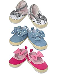 3 Pack Baby Infant & Newborn Girls Shoes- Soft Sole Baby Prewalker Crib Shoes- Assorted Baby Casual Everyday Wear...
