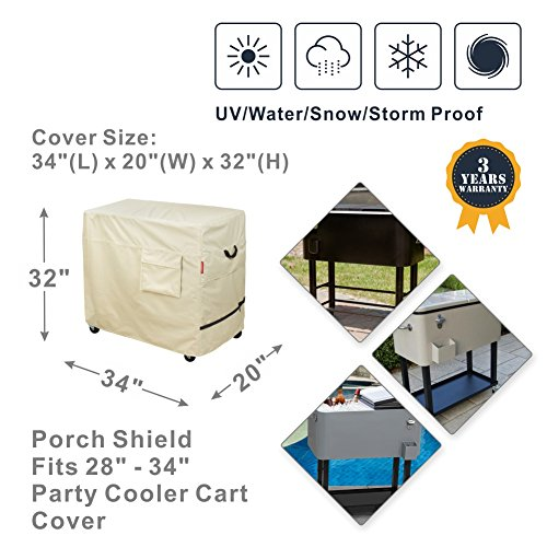 Porch Shield 100% Waterproof & Dust-Resistant 80 Qt Rolling Cooler Cart Cover Fits Most Patio Ice Chest Party Cooler Upto 34L x 20W x 32H inch by Porch Shield (Image #1)