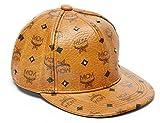 MCM Cognac 24K Gold Stud Visetose Baseball Cap Hat, S, Cognac