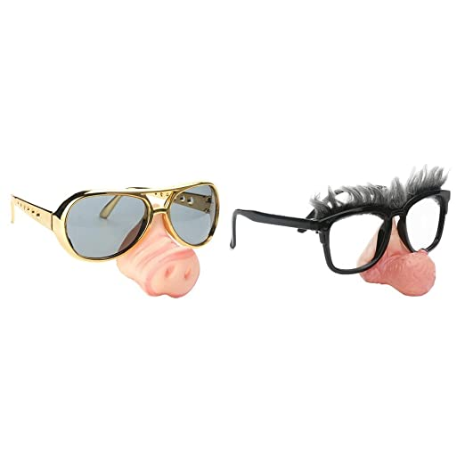 06897dd6533 Image Unavailable. Image not available for. Color  Homyl 2pcs Fashion Pig  Nose Big Nose Old Man Sunglasses Funny Fancy Dress Glasses Eyewear Party