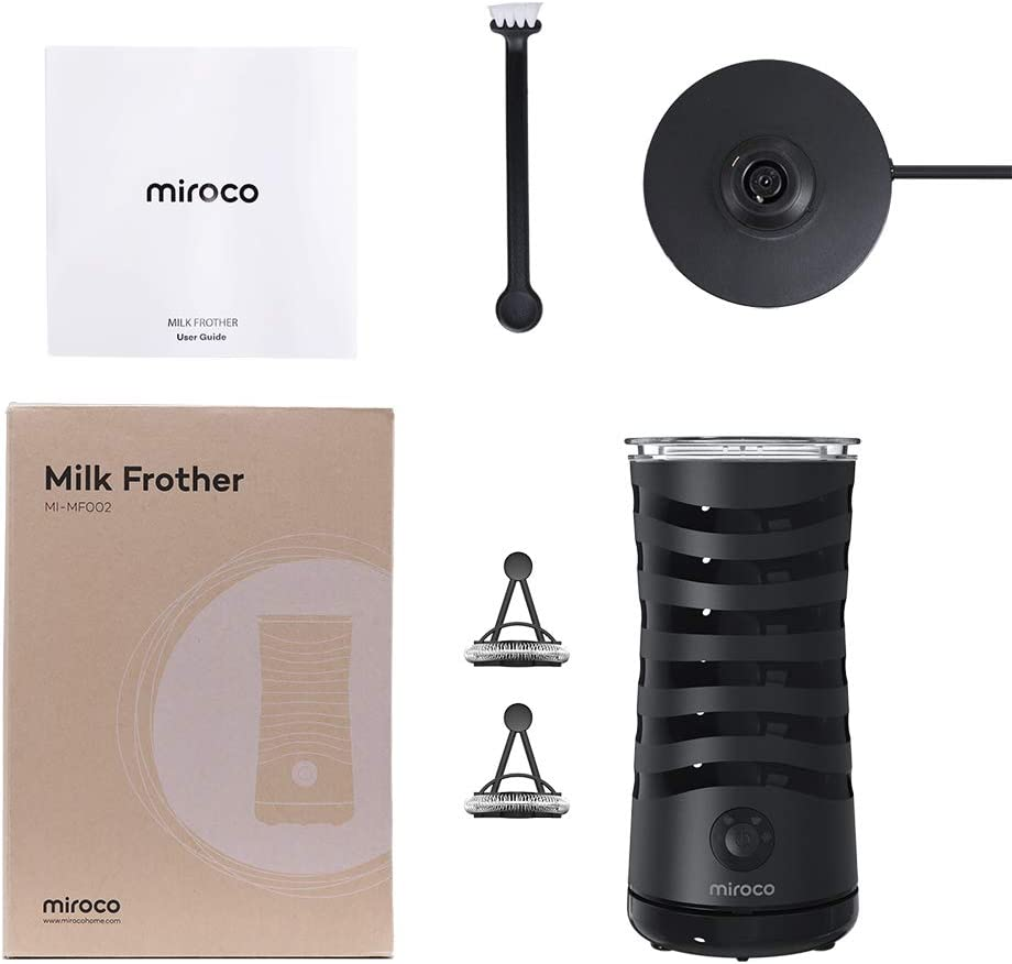 Milk Frother, Miroco Electric Milk Steamer Soft Foam Maker for Hot and Cold Milk Froth, Cappuccino, Coffee, Latte, Double Wall Milk Warmer Heater with Extra Whisks, Non-Stick Interior, Strix Control: Kitchen & Dining