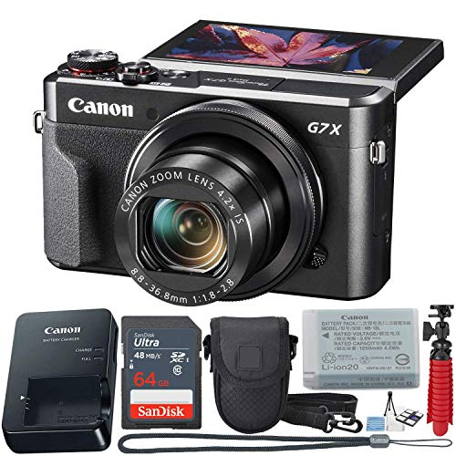 Canon PowerShot Digital Camera G7 X Mark II with Wi-Fi & NFC, LCD Screen, and 1-inch Sensor - (Black) 11 Piece Value Bundle
