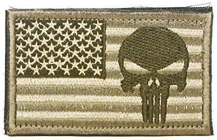 Cobra Tactical Solutions Punisher Skull Bandera de USA Parche Bordado Táctico Militar con Cinta de Gancho y Lazo de Airsoft Paintball para Ropa de Mochila Táctica (Oro): Amazon.es: Hogar