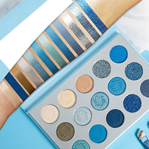 Space Blue Eyeshadow Palette DE'LANCI 15 Color Cosmetics Pressed Pigment Eyeshadow Palette Matte Shimmer Glitter Drama Makeup Eye Shadow Powder Long Lasting Waterproof Summer Eye Shadow Palette