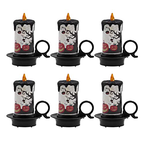 Mobestech 6pcs Halloween Candle LED Electronic Tea Night Light Flameless Decor Lamp for Halloween Horror Theme Party Desktop Ornament (Random Style)]()