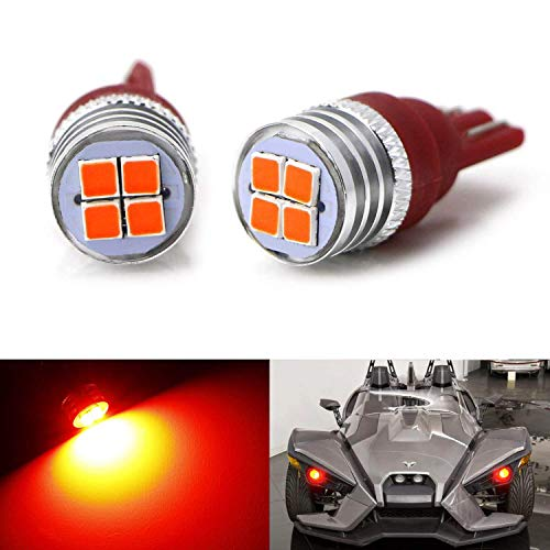 iJDMTOY Pair Super Bright 3030-SMD Red Glow LED Demon Eye Accent Lighting Replacement Bulbs For 2015-up Polaris Slingshot Projector Headlamp Lens