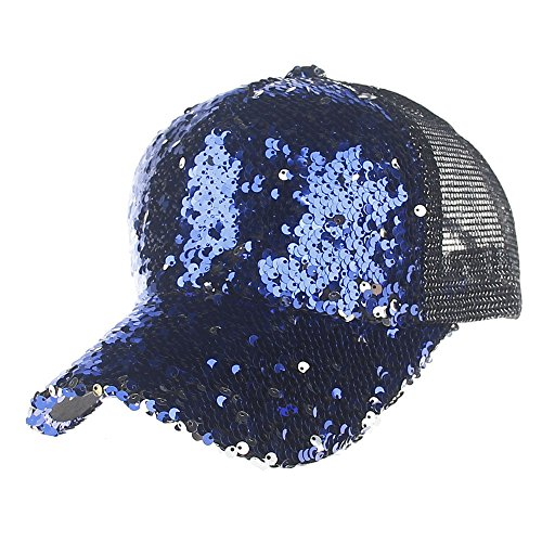 Womens Mens Unisex Sequins Mesh Caps Baseball Cap Women and Men Solid Outdoor Nightclub Sun Hats 6 Colors Bling Bling! ()