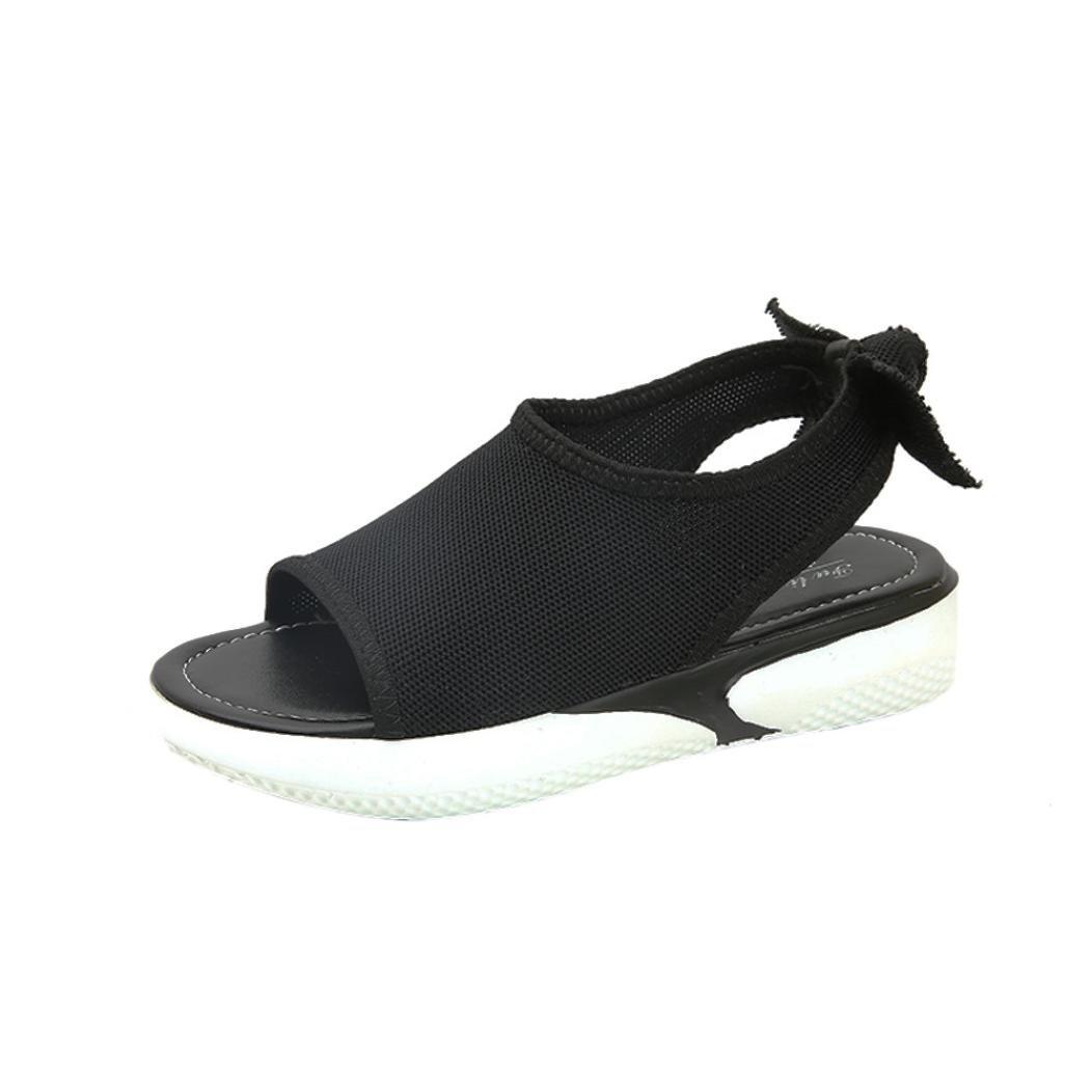 yjydadaサンダル、ファッションレディースレディースサンダルAnkle Midヒールブロックパーティーオープントウ靴 B07D3PTN7B  ブラック 35