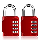 ZHENGE 2 Pack Combination Lock, 4 Digit Combination Padlock for Gym School Outdoor and Employee Locker(Red)