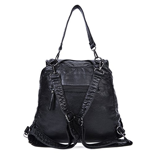 Leather Convertible Ladies Bag Soft Shoulder Bag Black Backpack Small for Women Purse 4 for Travel Black ww1fTqg