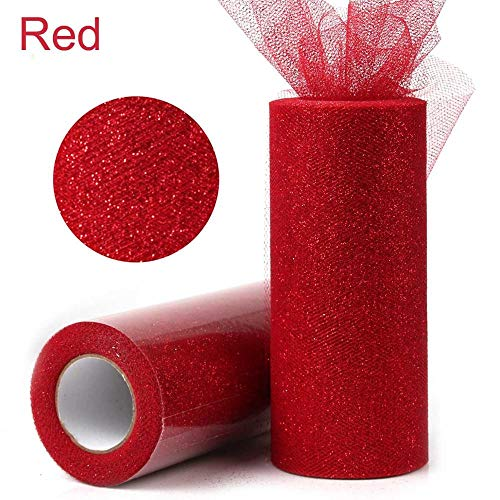 UltraZhyyne - 15cm 25 Yards Glitter Shimmering Tulle Roll DIY Lace Fabric Rolls Kids Tutu Skirt Apparel [ Red ]]()