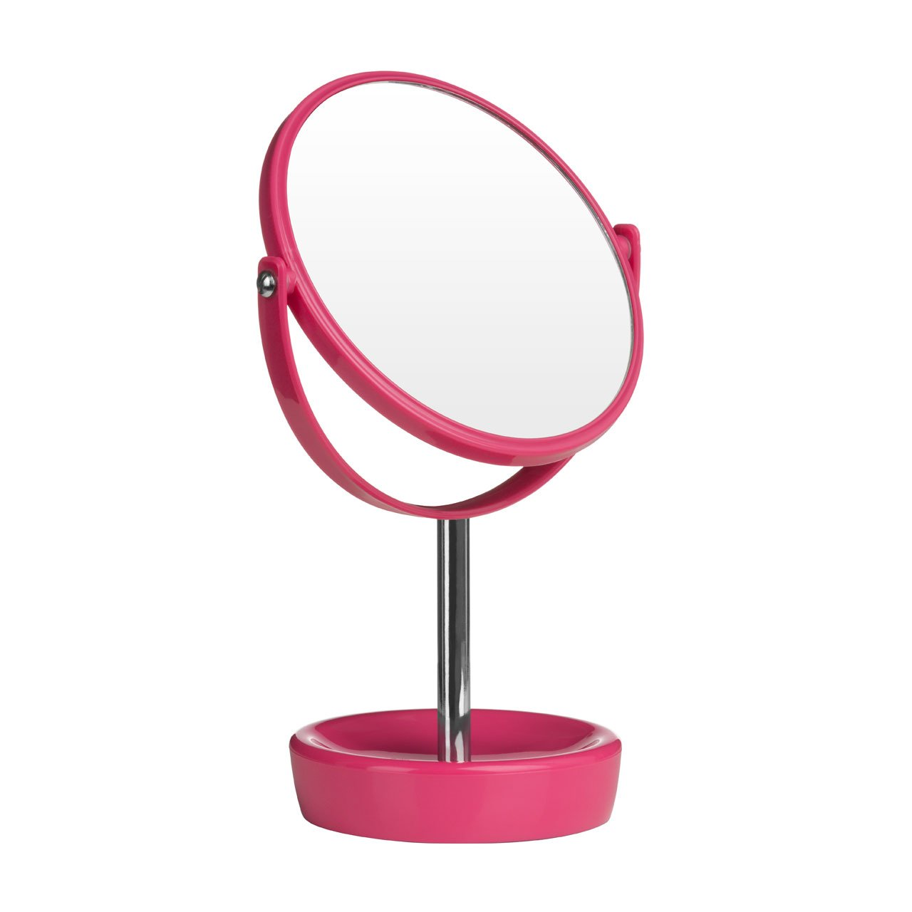 Hot Pink Colour Swivel Table Mirror Made of Plastic Chrome With Magnifying Option