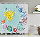 Space Shower Curtain Cute Cartoon Sun and Planets of Solar System Fun Celestial Chart Baby Kids Nursery Theme Fabric Bathroom Decor Set with Hooks Multi
