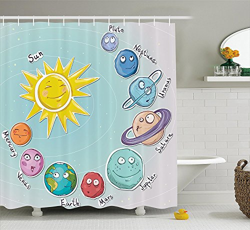 [Space Shower Curtain Cute Cartoon Sun and Planets of Solar System Fun Celestial Chart Baby Kids Nursery Theme Fabric Bathroom Decor Set with Hooks] (Vintage Pin Up Girl Costume Ideas)