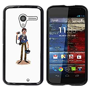 Shell-Star Arte & diseño plástico duro Fundas Cover Cubre Hard Case Cover para MOTO X / XT1058 / XT1053 / XT1052 / XT1056 / XT1060 / XT1055 ( Journalist Caricature Tourist Photography Art )