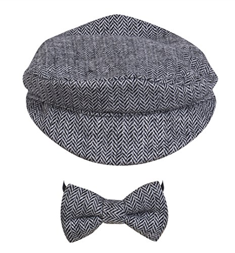 XARAZA Baby Photography Photo Hat, Newborn Baby Beanie Cap Hat + Bow Tie Outfit Set (Black ()