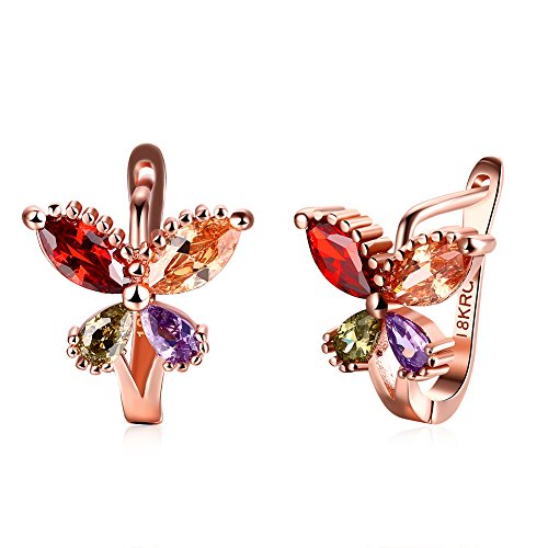 SunIfSnow Women Butterfly Ear Clip with Four Color Diamond Rose Gold Plated Stud Earrings