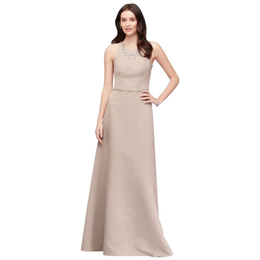 Crystal Necklace Faille A Line Bridesmaid Dress Style Oc290034 At