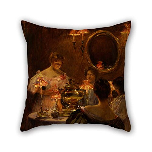 (MaSoyy Oil Painting Irving R. Wiles - Russian Tea Pillowcase Best for Bench Kitchen Outdoor Father Teens Girls Shop 16 X 16 Inches / 40 by 40 cm(Twin Sides))