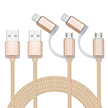 AIVANT 2-in-1 Lightning and Micro USB Cable, 1.8M/6Ft Nylon Braided Fast Charging & Sync Cords For iPhone 7/7Plus/6s plus/6s, iPad /iPod, Samsung, HTC, and More [2-Pack] (1.8m/2in1 Gold)
