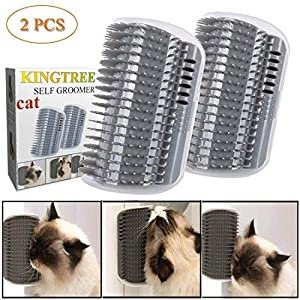 Kingtree Cat Self Groomer, 2 Pack Wall Corner Groomers Soft Grooming Brush Massage Combs for Short Long Fur Cats, Softer Massager Toy for Kitten Puppy 32