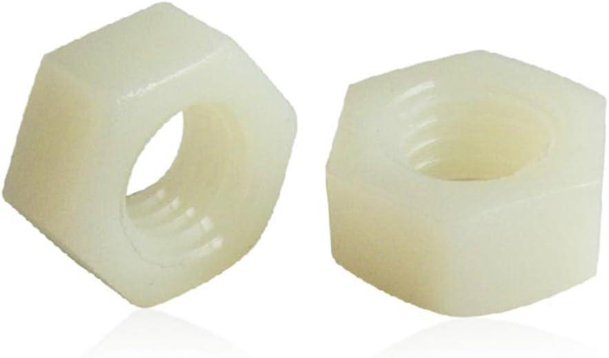 Fujiyuan Lot de 50 /écrous hexagonaux /à filetage m/étrique en plastique avec embouts hexagonaux en nylon M3 M4 M5 M6 M8 M10 M12