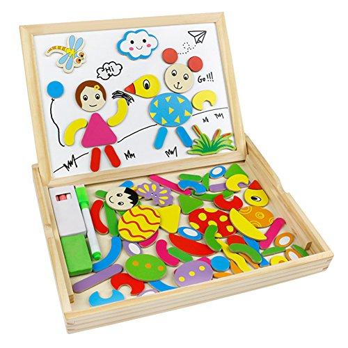 Puzzle en Bois Magnétique Double Face Tableau Aimanté Puzzle Tableau Jouet Bois Blanc Noir Planche à Dessin Jouet Educatif pour Enfants âgés 3 Ans et Plus