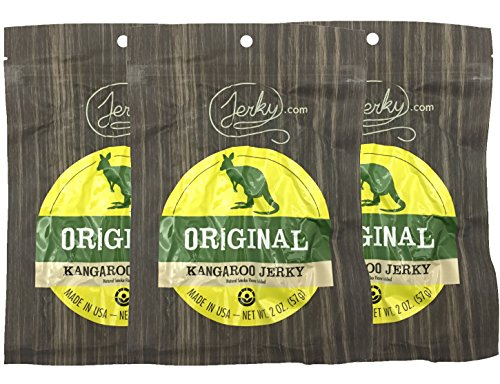 Original All Natural Kangaroo Jerky - 3 PACK - The Best Wild Game Kangaroo Jerky on the Market - 100% Whole Muscle Kangaroo - No Added Preservatives, No Added Nitrates and No Added MSG - 6 total oz.