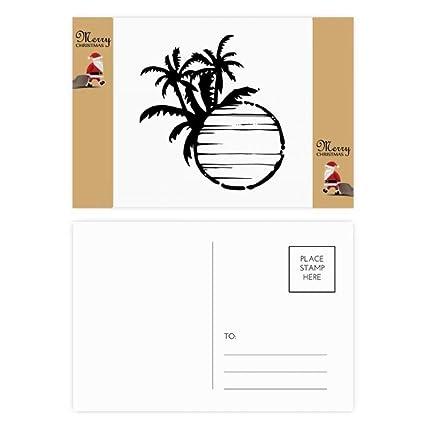 Silueta de árbol de coco de playa negra con tarjeta de ...