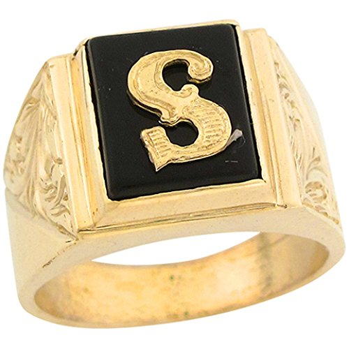 10k Real Gold 12x10mm Rectangle Onyx Letter S Fancy Mens Initial Ring -