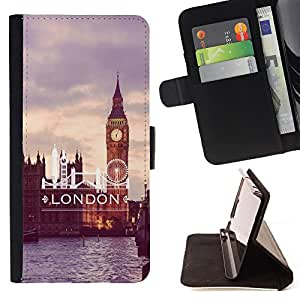 - London City Love it United Kingdom - - Estilo PU billetera de cuero del soporte del tir¨®n [solapa de cierre] Cubierta FOR Samsung Galaxy Note 3 III Retro Candy