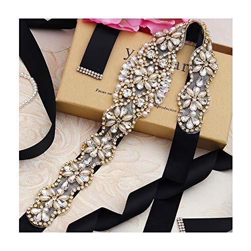 Yanstar Handmade Gold Crystal Bridal Belts Sashes Wedding Belts With Rhinestones For Wedding Bridesmaid Dress (Gold-Black)