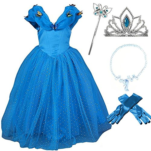 [2015 New Cinderella Butterfly Party Dress Costume with Accessories (4-5)] (Cinderella Dress Up)