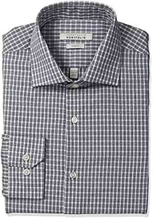 Perry ellis men 39 s slim fit wrinkle free classic check for Wrinkle free dress shirts amazon