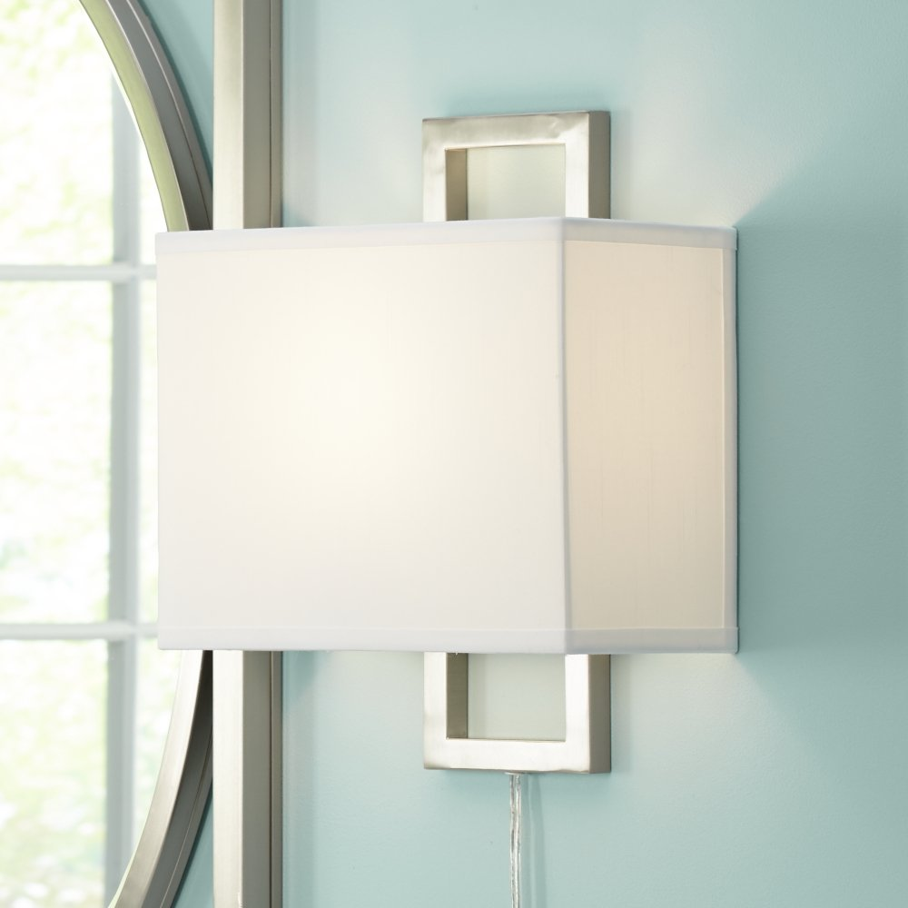 Aundria rectangular brushed steel plug in wall lamp amazon mozeypictures Image collections
