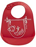 modern-twist Waterproof Silicone Bucket Baby Bib with Adjustable Strap, plastic free, wipe clean and dishwasher safe, Red